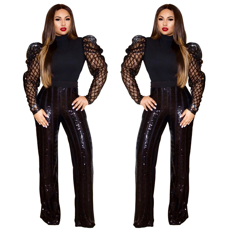Adogirl Gorgeous Sequins Pants with Comfortable Lining High Waist Casual Loose Trousers 2019 Christmas Party Outfits Pants & Capris Women Bottom ! Plus Size Women's Clothing & Accessories