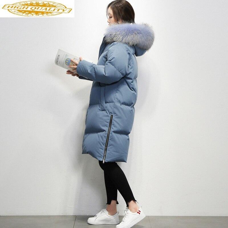 AYUSNUE 2020 Women's Winter Down Jacket Woman Hooded Long Puffer 90% White Duck Down Coat Women Real Raccoon Fur Collar Korean