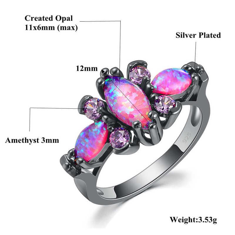 CiNily สีชมพูขนาดใหญ่ Fire โอปอลหินสีดำทองสีแหวนม่วงสีม่วง Zircon คริสตัลผีเสื้อสัตว์แหวนแฟชั่นเครื่องประดับ