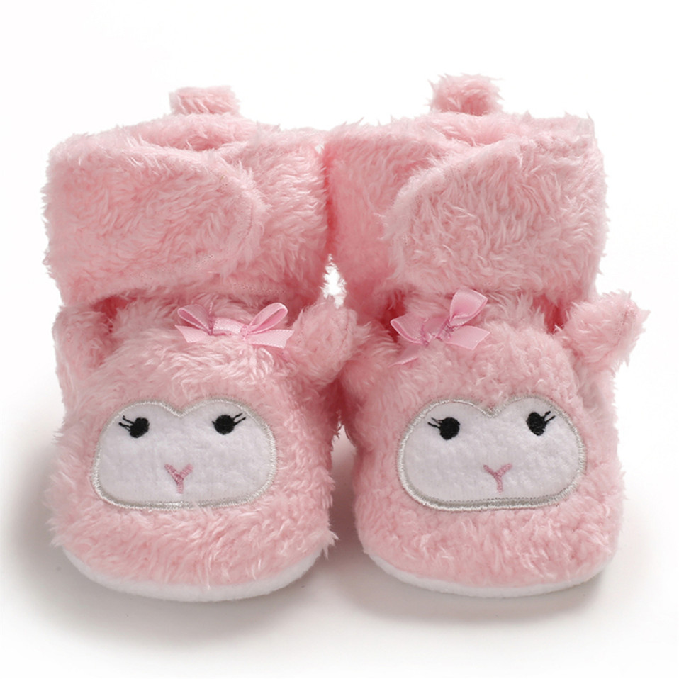 2019 NEW Warm Baby Girls Boots Winter Newborn Shoes Warm Dot Print Infant Snow Boots Plus Velvet Baby Shoes 0-12Mhot