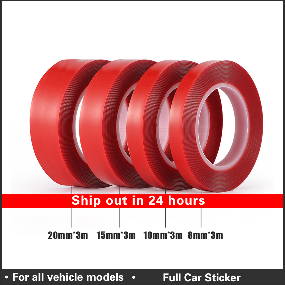 8/10/15/20 mmX 3m Auto Special Double-sided Tape High Strength Transparent Glue No Traces Sticker Car Double Face Tape adhesive