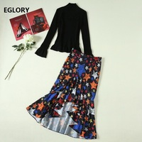 2019 Autumn Winter Casual Sweater Suits Women Black Pullovers+Star Print Asymmetrical Sexy Party Club Skirt Set Ladies 2 pc Suit
