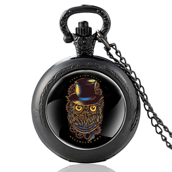 Fashion Classic Black Steampunk Owl Punk Gear Glass Dome Quartz Pocket Watch Cute Men Women Clock Chain Pendant Jewelry цена 2017