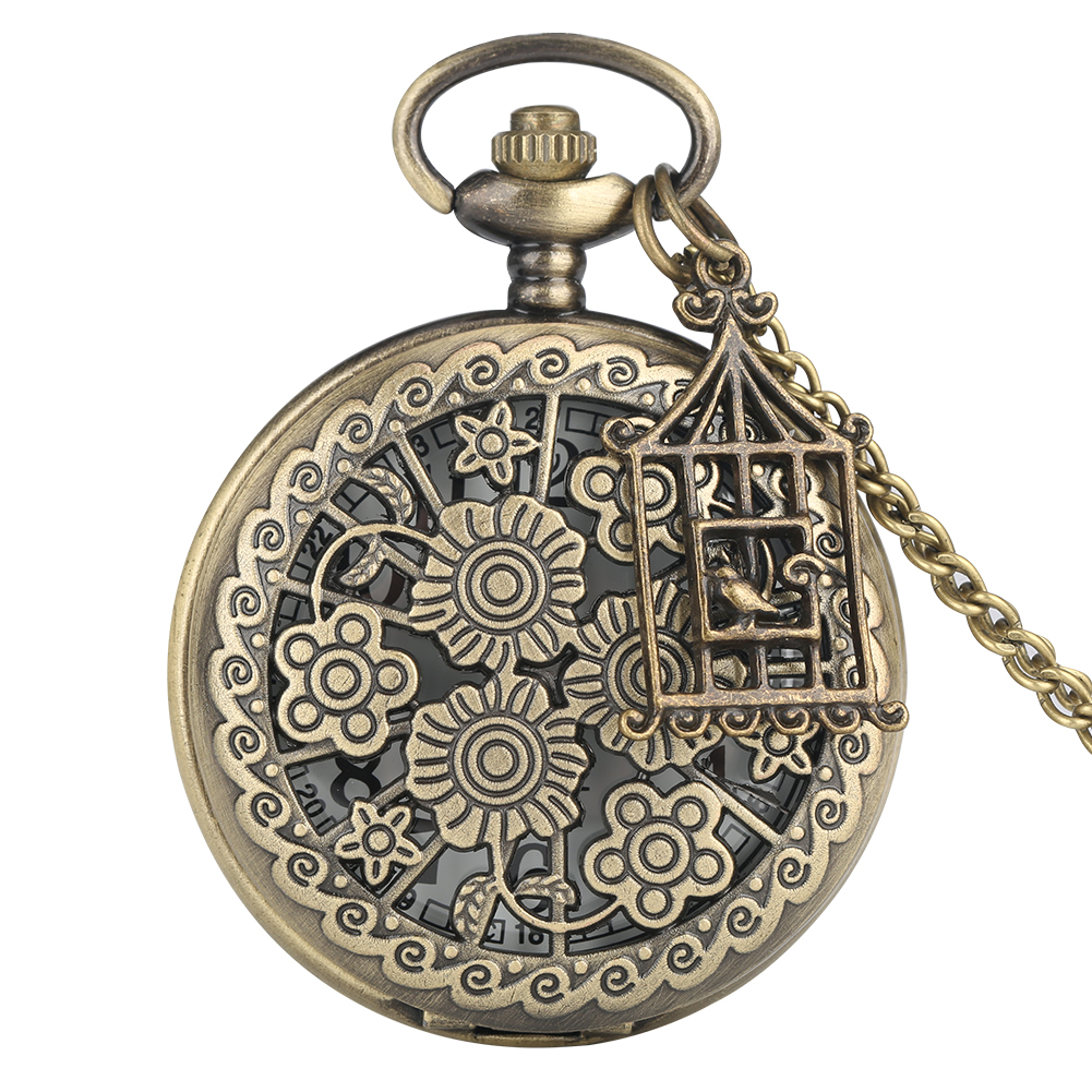 Blooming Flowers Hollow Pretty Necklace Quartz Pocket Watch Chain Old Fashion Pendant Clock Accessory Gift For Men Women Friends