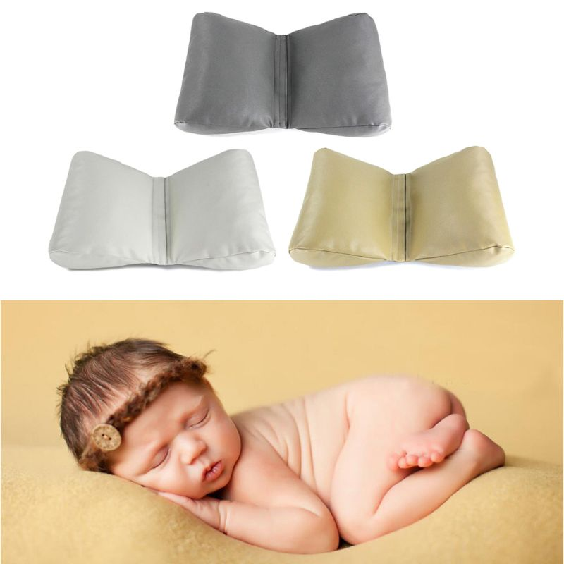 PU Leather Newborn Photography Props Cycle Wedge Shaped Pillow Baby Photo Prop Backdrop Basket Stuffer 3 Colors