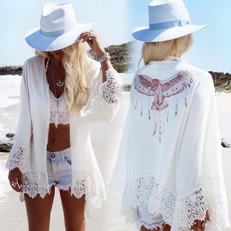 2020 Summer Cover Up Sexy Women Eagle Print Shirts Lace Crochet Long Sleeve Loose Cardigan Blouse Beach Shawl Outwear