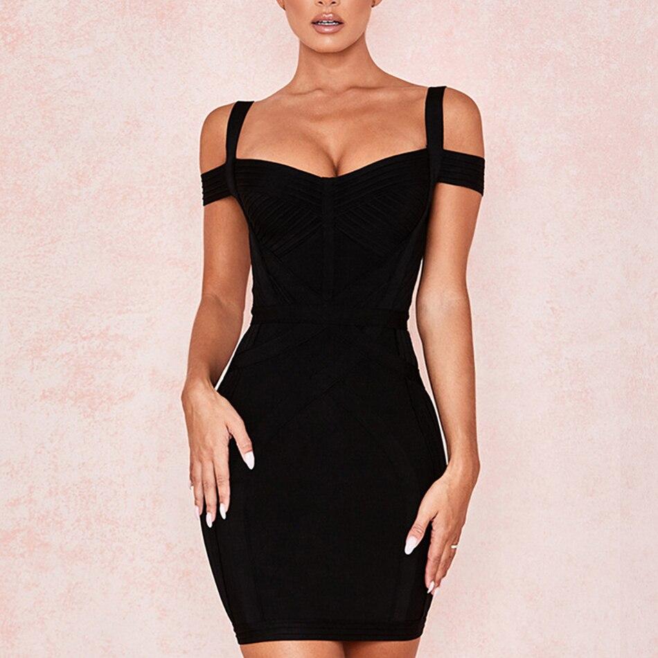 ADYCE 2019 New Off Shoulder Bodycon Bandage Dress Women Vestido Sexy V Neck Spaghetti Strap Club Celebrity Evening Party Dress