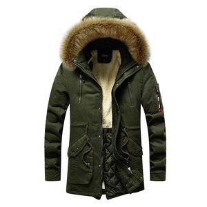 Image 3 - Veste de Parka chaud pour hommes, manteaux épais pour hommes, avec col en fourrure, à capuche, manteaux longs, veste décontractée