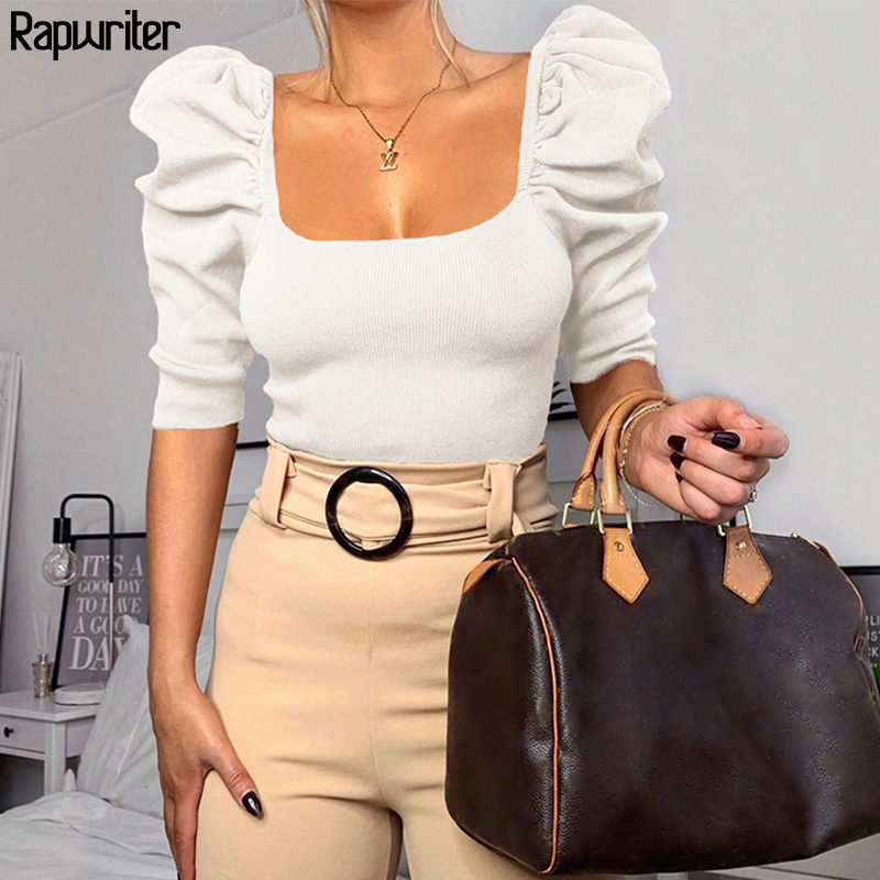 Rapwriter Vintage Square Collar Half Sleeve White Crop T-shirt Women  2020 Solid Tees Shirts Spring  Fashion Black Tees Orange
