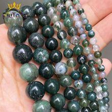 Contas de pedra natural musgo agatas redondas soltas, espaçador para fazer jóias, acessórios pulseira diy 15 ''fios 4/6/8/10/12mm