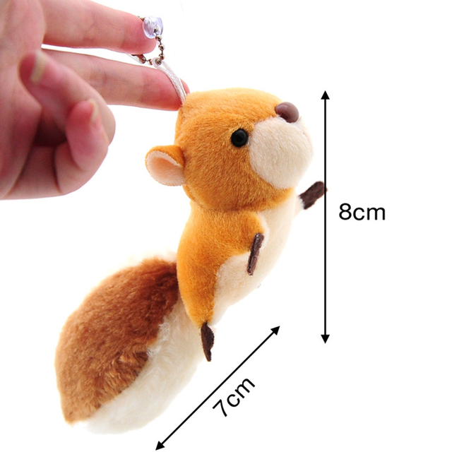 Cute Cartoon Squirrel Plush Stuffed Doll Toy Keychain Key Ring Backpack Ornament backpack Stuffed key chain Keyring for girls