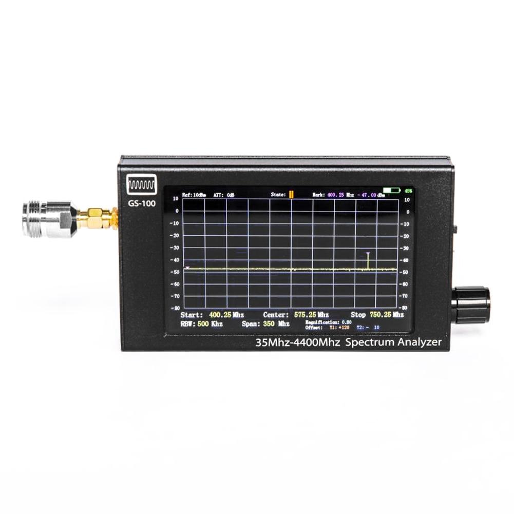 Анализатор спектра Hnadhold GS100, 35-4400 МГц, анализатор спектра в алюминиевом корпусе с ЖК-экраном TFT 4,3 дюйма и батареей
