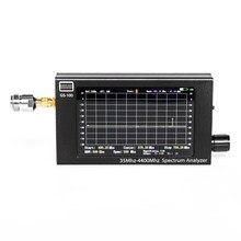 Analisador de alumínio do espectro do alojamento de hnadhold do analisador do espectro de 35mhz-4400mhz gs100 com 4.3 Polegada tela e bateria de tft lcd