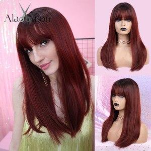 Image 5 - ALAN EATON длинные парики с Омбре, коричневые, светлые парики с челкой для косплея, синтетические для чернокожих женщин, прямые, вечерние парики из натуральных волос