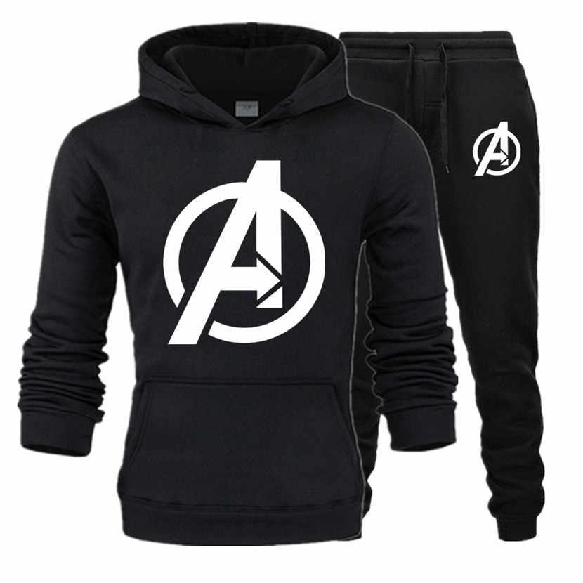 Marvel fashion hoodie sweatshirt 남성/여성 후드 티 스웨터 + 운동복 정장 가을 겨울 따뜻한 양털 후드 풀오버