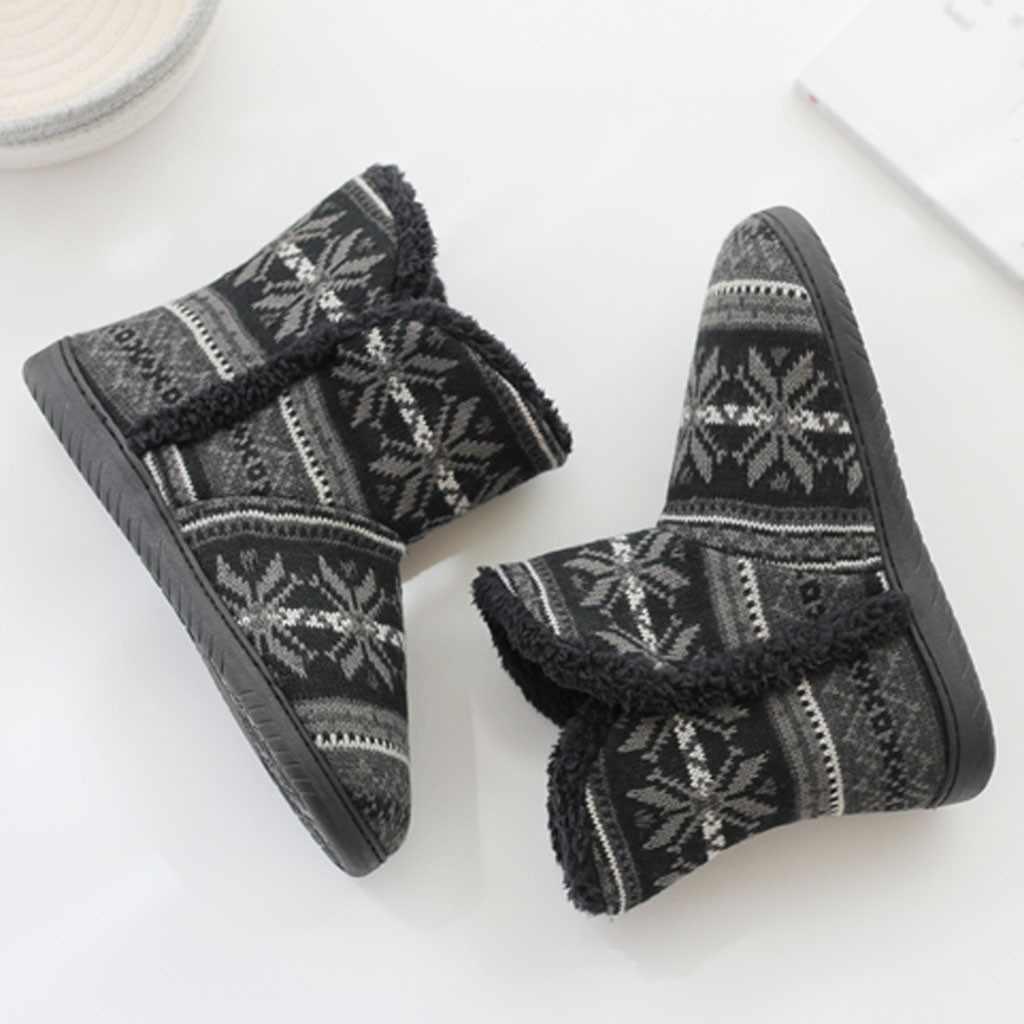 Kış Çift Modelleri Ev Botları Yumuşak Sıcak Kış Ev Botları Kalın pamuklu ayakkabılar kadın Yüksek Topuklu Kare Kafa Kalın ayak Bileği