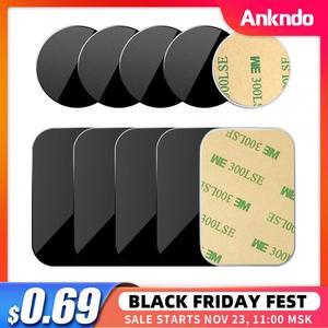 Car Phone Holder Metal Plate Magnetic Holder Round Square Sticker iron Sheet for Mobile Tablet Magnet Disk Desk Car Stand