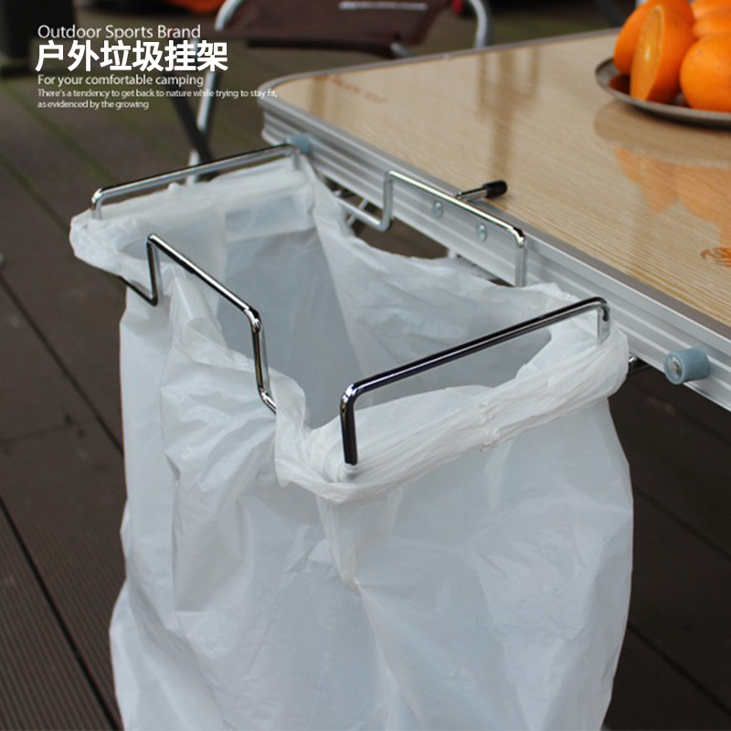 Outdoor Garbage Pylon Camping Table Wire Collection Stand Picnic  Barbecue Shelf Kitchen  Bag