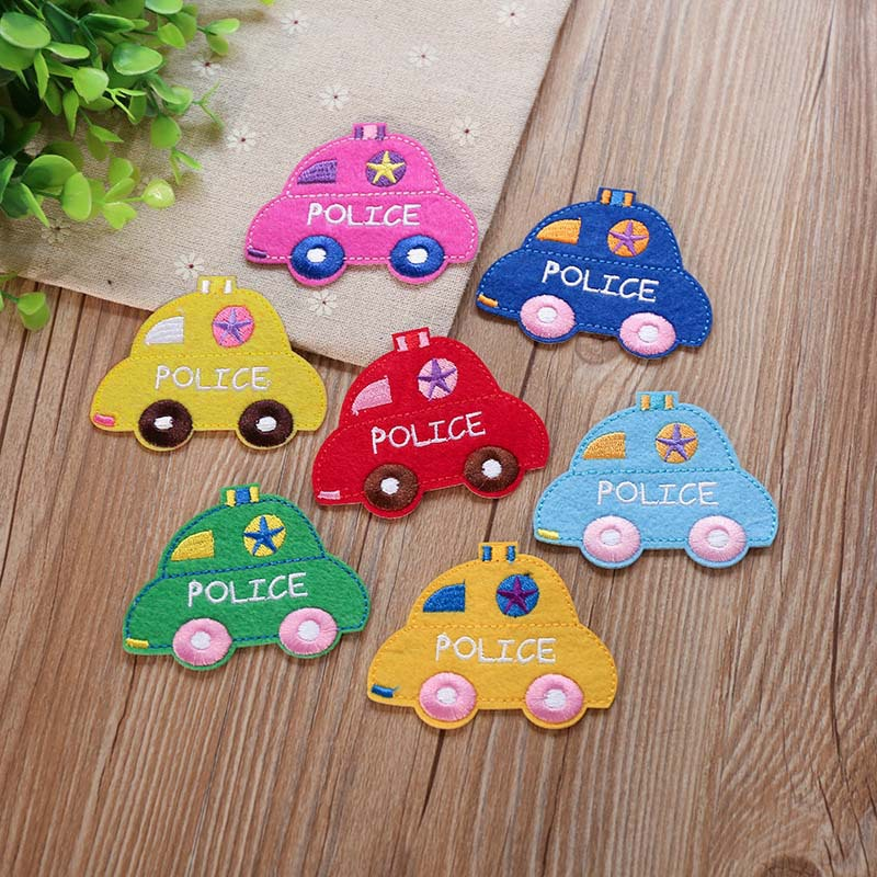 Embroidery Patches Cartoon Police Car Children's Pants Decorative Repair Hole Stickers Chapter For Clothing Decorative Appliques