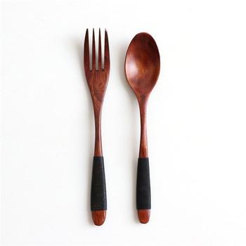 Natural Wooden Spoon & Fork Dinner Kit Rice Soups Utensil Cereal Handmade  Home Tableware Dinnerware Cutlery For Kicthen