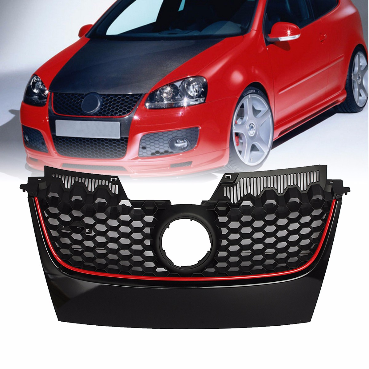 Car Red Strip Front Center Grille Bumper Grill with Red Border For VW for Jetta GTI MK5 2006 2007 2008 2009|Racing Grills| |  - title=