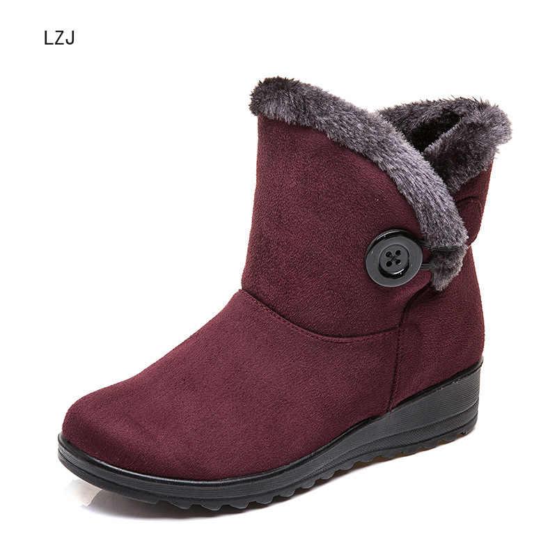 LZJ 2020 mujeres botas de nieve caliente corta de piel de invierno tobillo bota Plus tamaño 35-43 plataforma damas gamuza botas cómodas