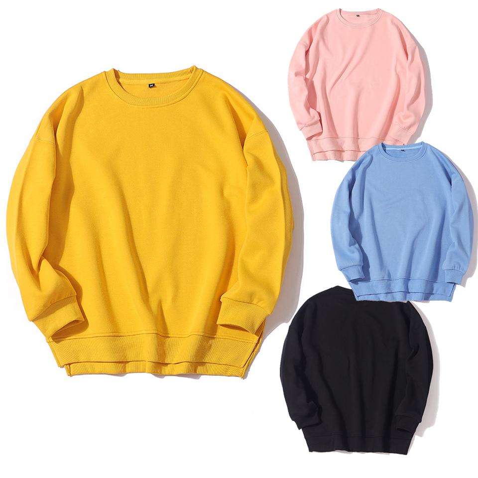 High Quality Side Split Hoodie Solid Color Plain Hoodies Unisex Sweatshirt Poleron Mujer 2019 Crewneck Women Casual Hoodies Xl