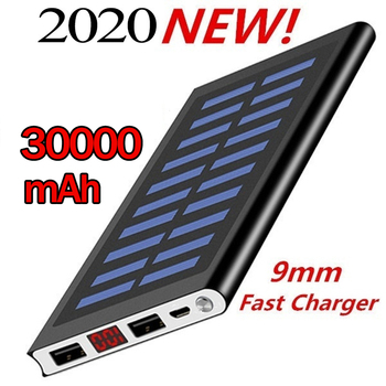 Ultra Thin 9mm Solar Power Bank 30000 Mah Ultra High Capacity External Chargerfor All Mobile Phone for Outdoors/camping/explore 1