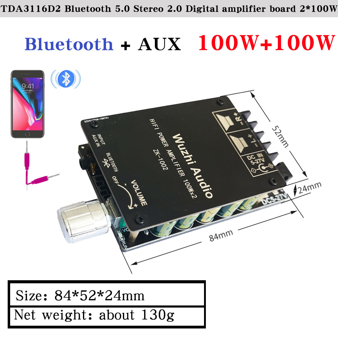 HIFIDIY LIVE Bluetooth 5.0 AUX TPA3116 Digital Power Amplifier board 2x 50W 100W speaker Stereo Audio AMP Module Home music 502C