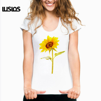 LUSLOS plus size women t shirts sun flower print femme summer short sleeve tee tops casual white graphic tops harajuku t-shirts