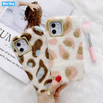 Leopard Print Plush Soft Silicone Case For Vivo Y97 Y95 Y93 Y85 Y17 Y70S Y9S Y7S Case Fluffy Winter Warm Fur Protection Cover image