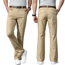 Trousers Fiared-Pants Cozy Summer Spring Stretch Business Thin Black White Kahki Casual