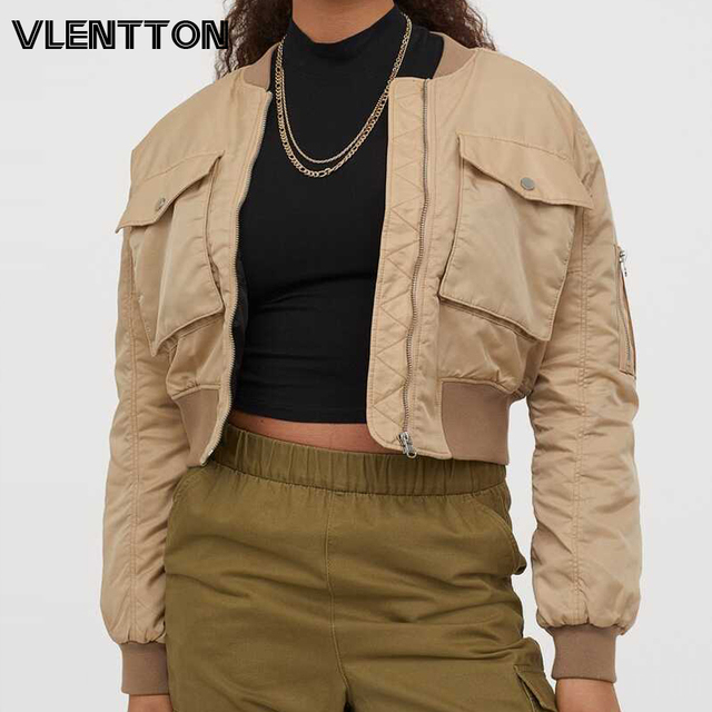 2020 Autumn Women Oversize Short Baseball Jackets Coat Solid Zipper Casual Loose Basic Bomber Outwear Female Tops Chaqueta Mujer 1
