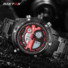 RISTOS многофункциональный хронограф мужские спортивные часы из нержавеющей стали цифровые модные наручные часы Военные Relojes Masculino 9340