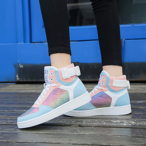 Image 2 - Genuine Leather High Top Women Sneakers Fashion Skate Shoes Lace Up Patchwork Women Casual Shoes Superstars XU135