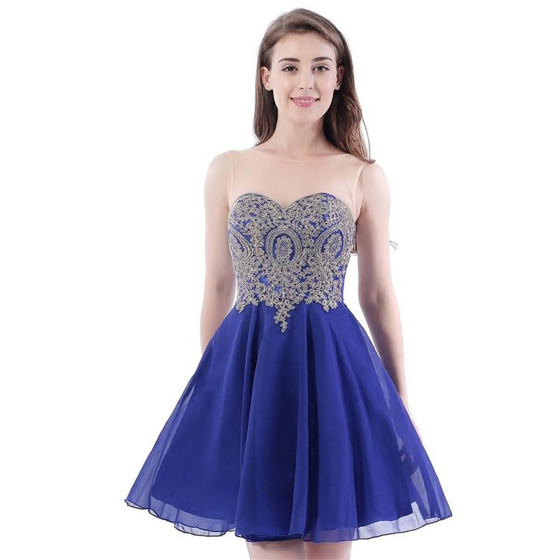 Vestido Madrinha New Scoop Neck Lace Chiffon Aline Royal Blue Gold Bridesmaid Dresses Short Wedding Guest Gown Cheap Sukienka We