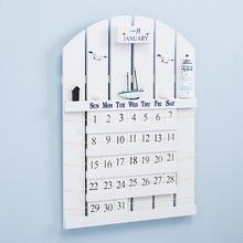 Mediterranean Style Wooden Perpetual Calendar Creative resins shells handmade hanging Wall Calendar Home Decorations