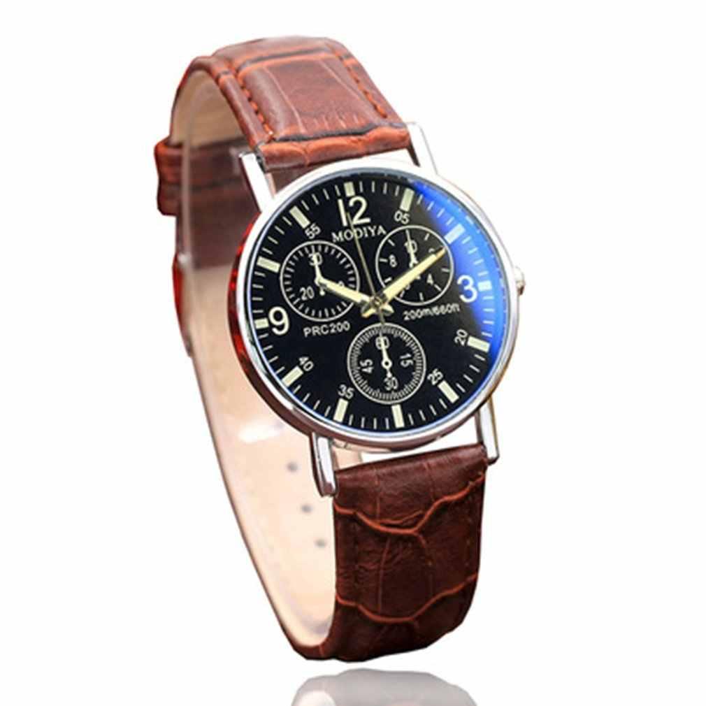 גברים של קוורץ שעון מזדמן עסקי אופנה שעון פשוט ספירלת כתר עור חגורת שעון נייד הגברים מתנות