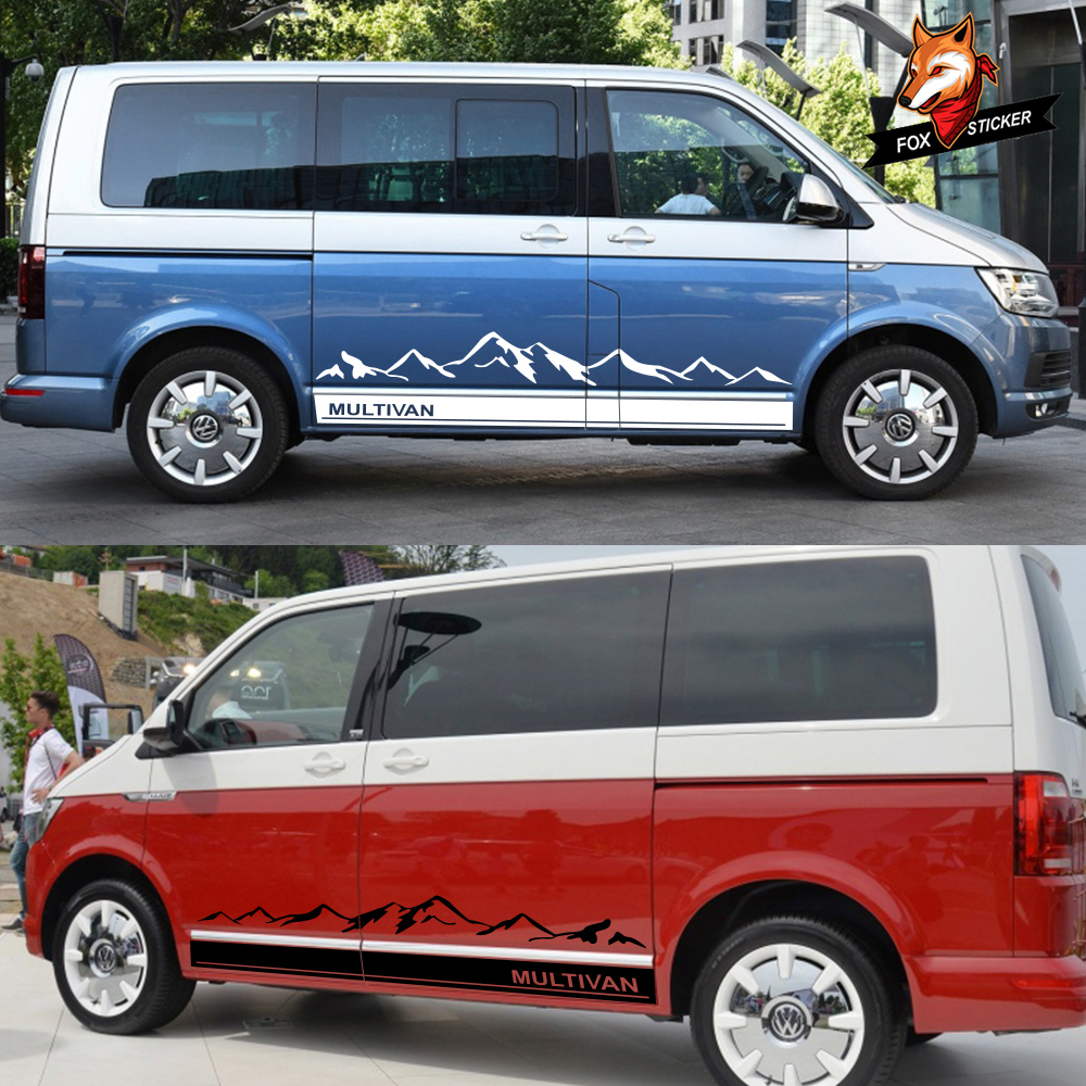 Door Side Skirt Decals Mountain Car Graphics Vinyl Stickers Auto Body Decor Accessories For Volkswagen VW Multivan T5 T6