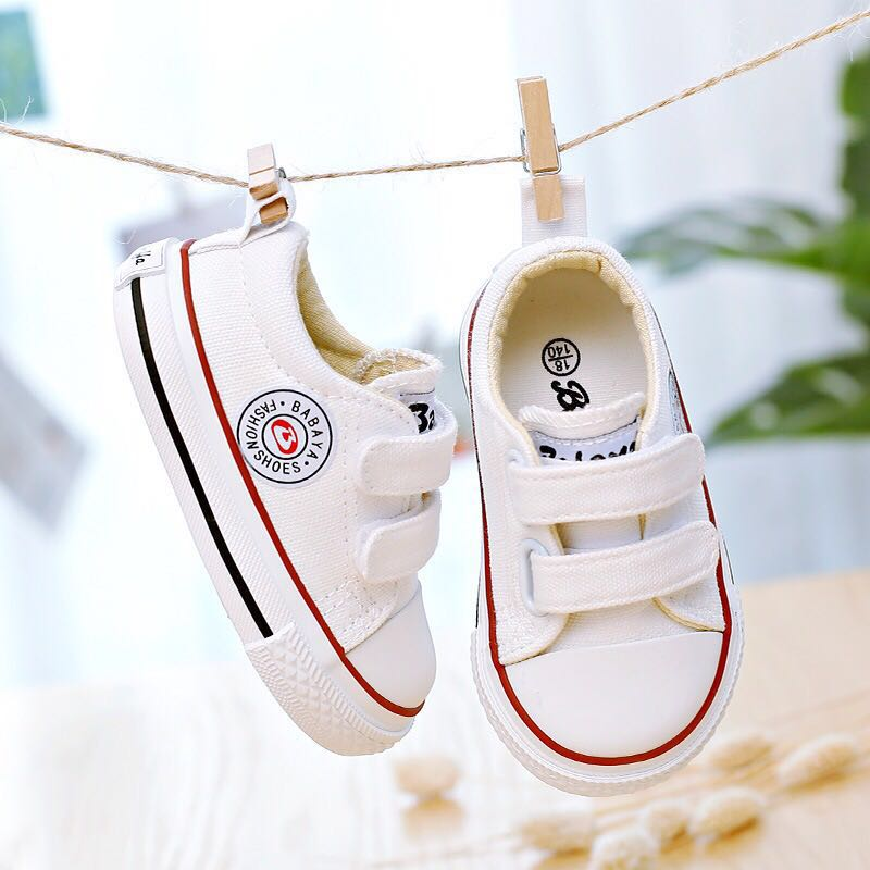 Children Canvas Shoes Baby Shoes Soft Bottom 1-3 Years Old 2019 Spring New White Shoes Starting Boys Cloth Toddler Shoes Girls