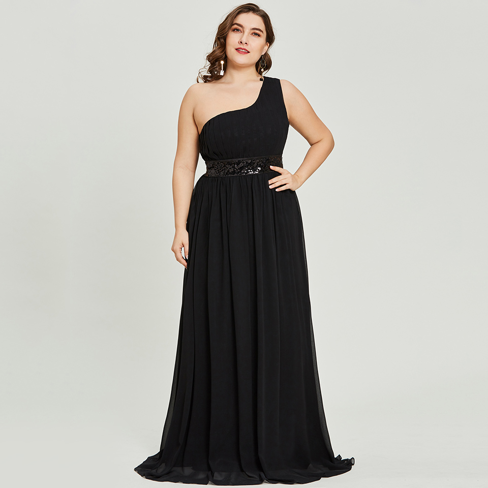 Dressv black one shoulder plus size sequins long   evening     dress   sleeveless wedding party formal   dress   a line   evening     dresses