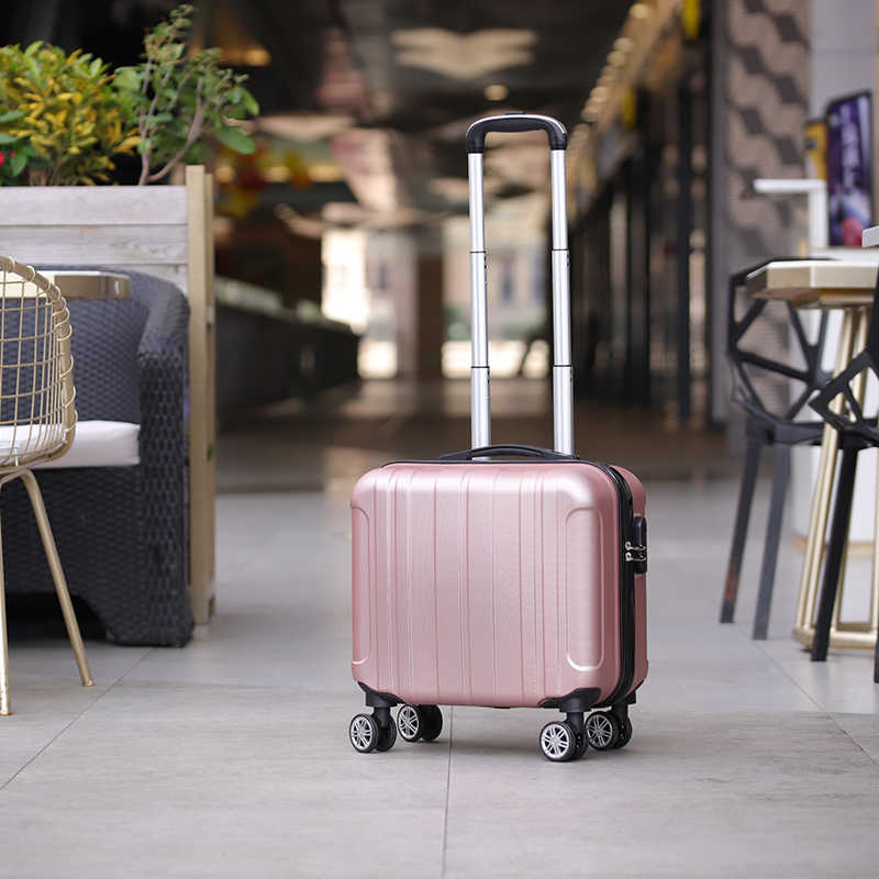 Fashion 17 inch small suitcase on wheels ladies 14 inch mini cabin suitcase chassis trolley case password luggage cosmetic box