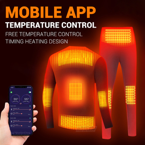 Image 1 - Winter Heated Underwear Suit USB Battery Powered Heated Thermal Tops Pants Smart Phone APP Control Temperature Motorcycle Jacket