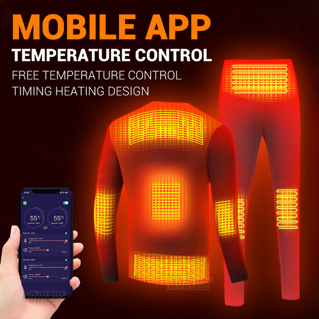 Winter Heated Underwear Suit USB Battery Powered Heated Thermal Tops Pants Smart Phone APP Control Temperature Motorcycle Jacket