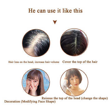 MUMUPI Straight Synthetic hair Natural Fluffy Block Invisible Replacement 3DForehead Air Bangs Frontal Closure Hair Extension