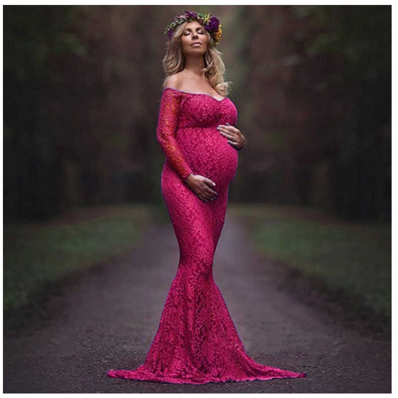 Maternity Photography Props Long Dress Lace Maternity  Dress Pregnancy Dress Photography Pregnancy Clothes for photo shoot