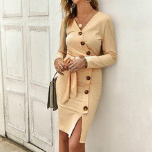 2019 Autumn Women Sweater Dress Sexy Solid V- Neck Long Sleeve Dress Slim Button Lace Up Knitted Sweater Women Dress 2019 sexy women autumn oversized sweater dress solid v neck long sleeve elegant beading knitted sweater backless women top