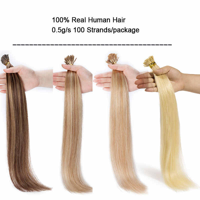 SEGO 16''-22'' 50g 100 Strands Straight 100% Human Hair I Tip Stick Keratin Hair Extensions Pre Bonded Non-Remy Fusion Hair