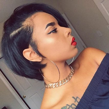 Modern Show Pixie Cut Wig 13*4 Shot Bob Lace Front Human Hair Wigs Brazilian Remy Hair For Black Women 150% Density Pre Plucked(China)