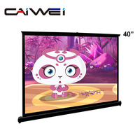 40 inch Portable Desktop Projector Screen Home Cinema Floor Projection Screens for Projector Rolling Up Film Movies
